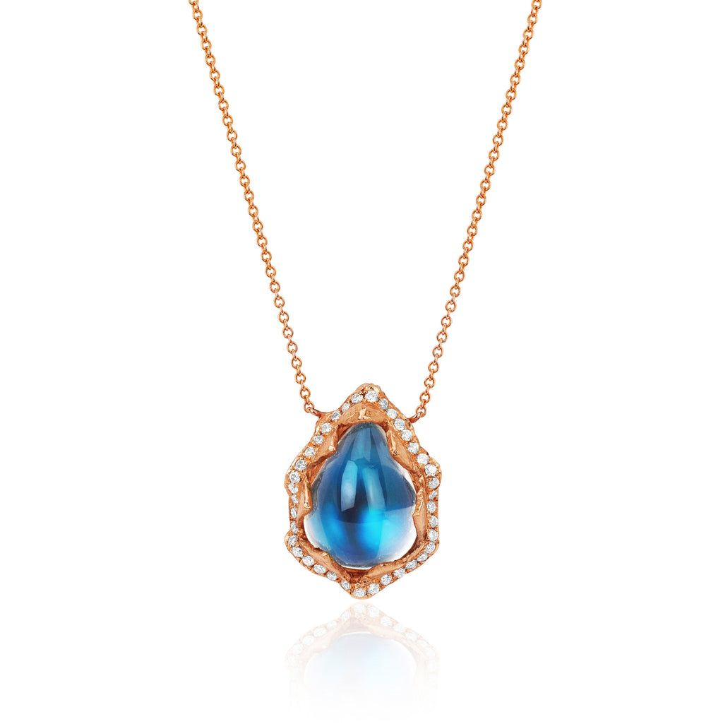 18k Queen Water Drop Blue Sheen Moonstone Necklace with Full Pavé Halo Rose Gold
