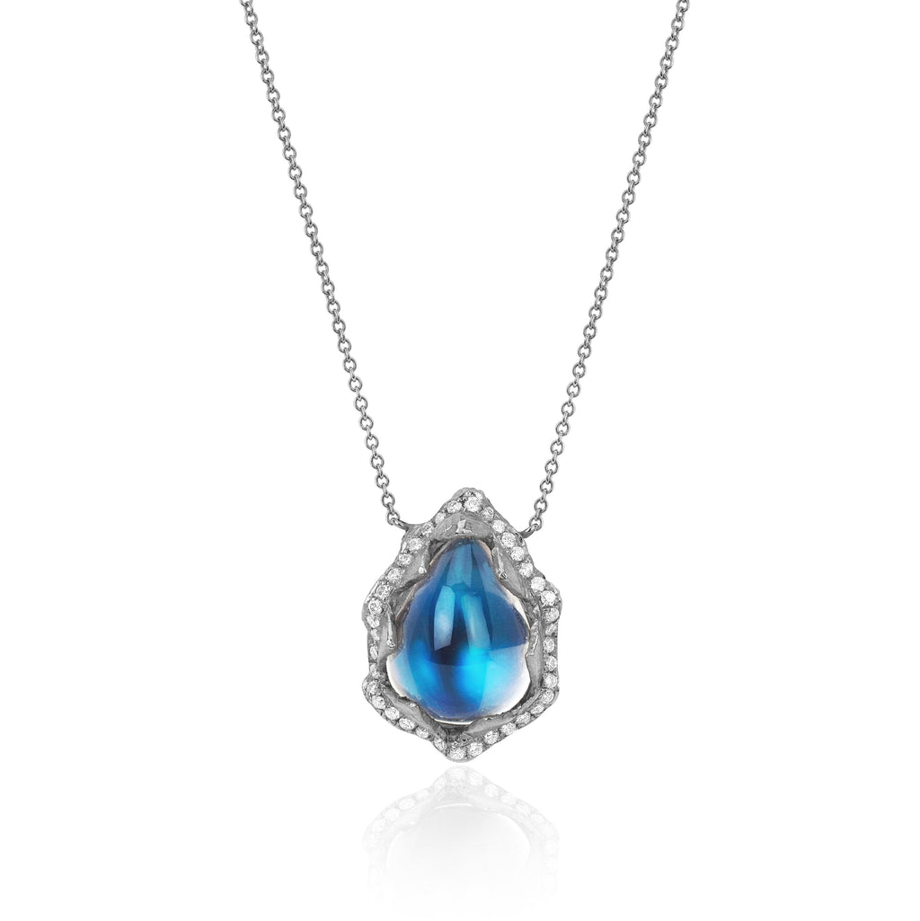 18k Queen Water Drop Blue Sheen Moonstone Necklace with Full Pavé Halo White Gold