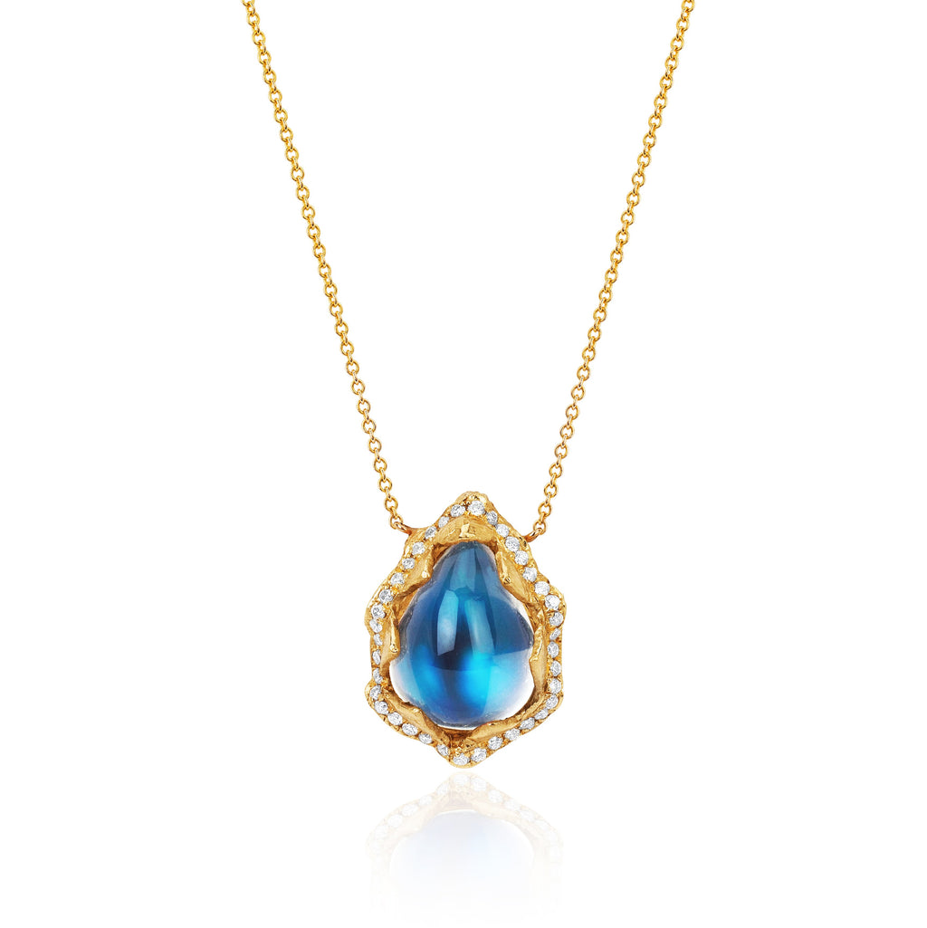 18k Queen Water Drop Blue Sheen Moonstone Necklace with Full Pavé Halo Yellow Gold