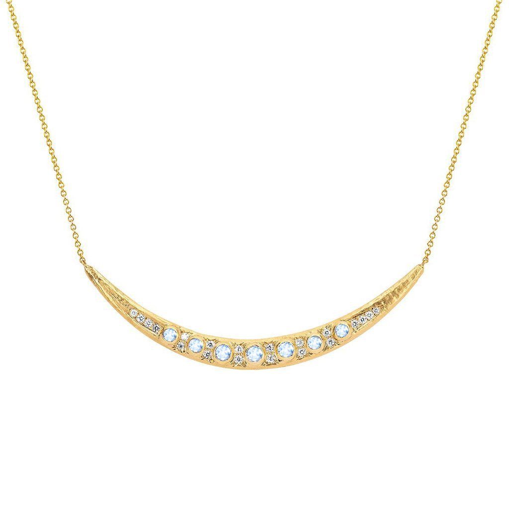 Queen Moonstone Crescent Necklace with Pavé Diamonds Queen Moonstone Crescent Necklace with Pavé Diamonds