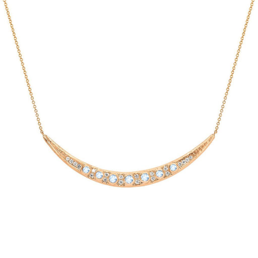 Queen Moonstone Crescent Necklace with Pavé Diamonds