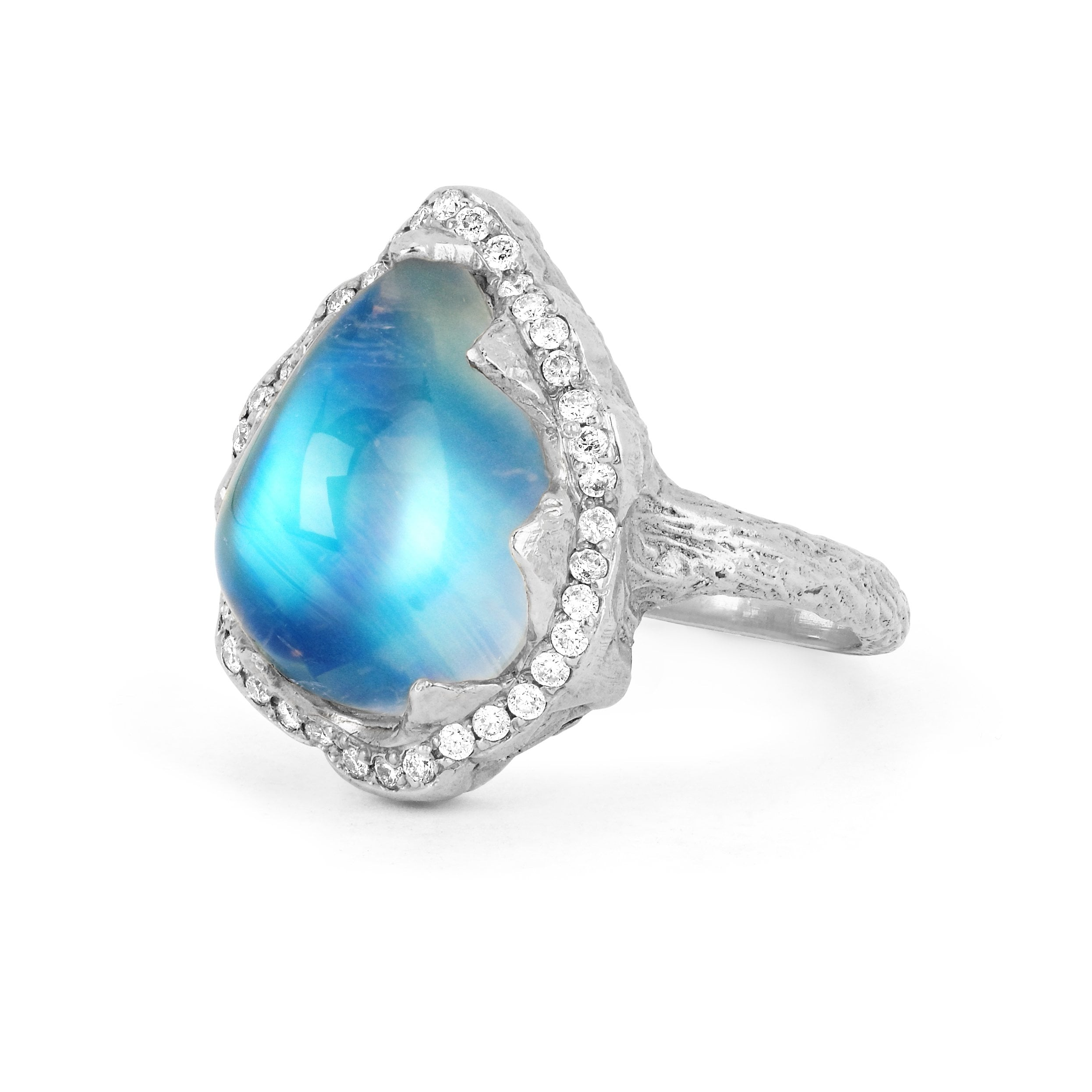18k Queen Water Drop Blue Sheen Moonstone Ring with Full Pavé Halo
