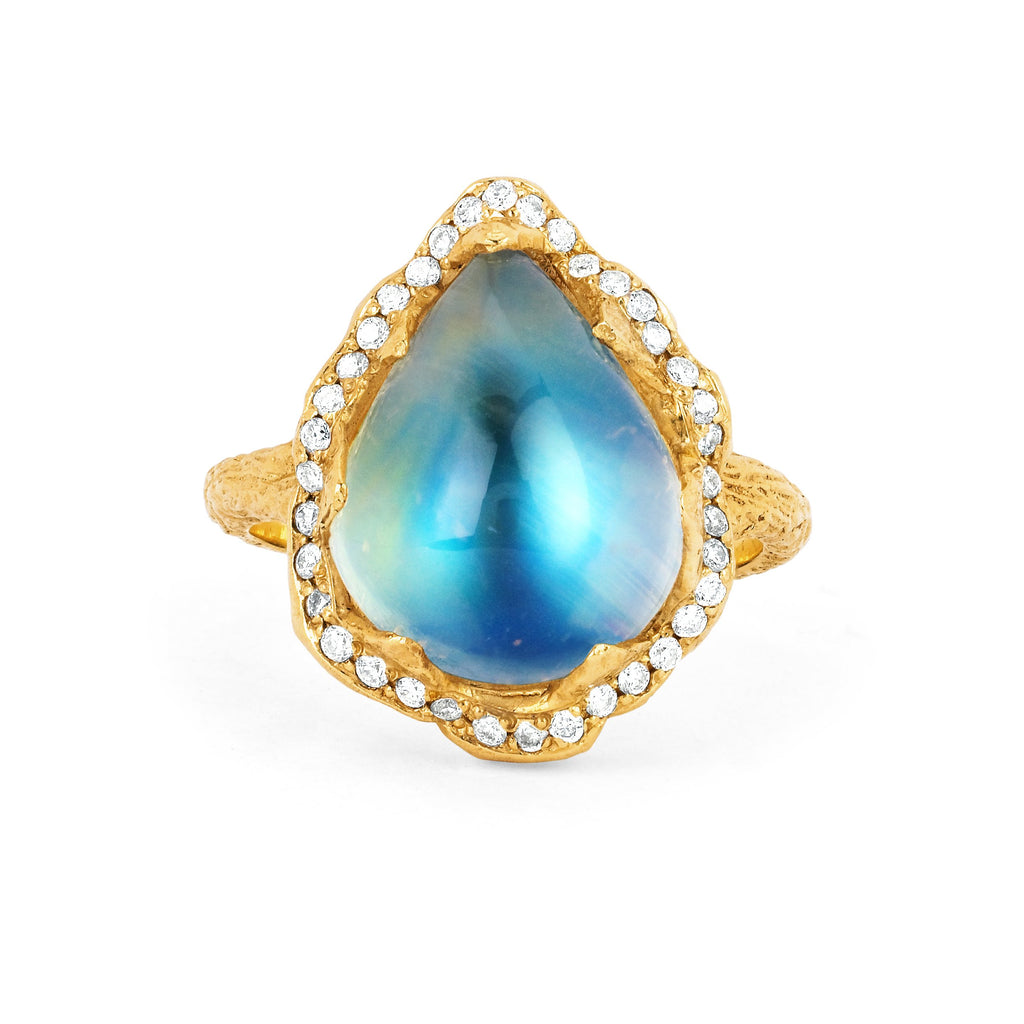 18k Queen Water Drop Blue Sheen Moonstone Ring with Full Pavé Halo Yellow Gold