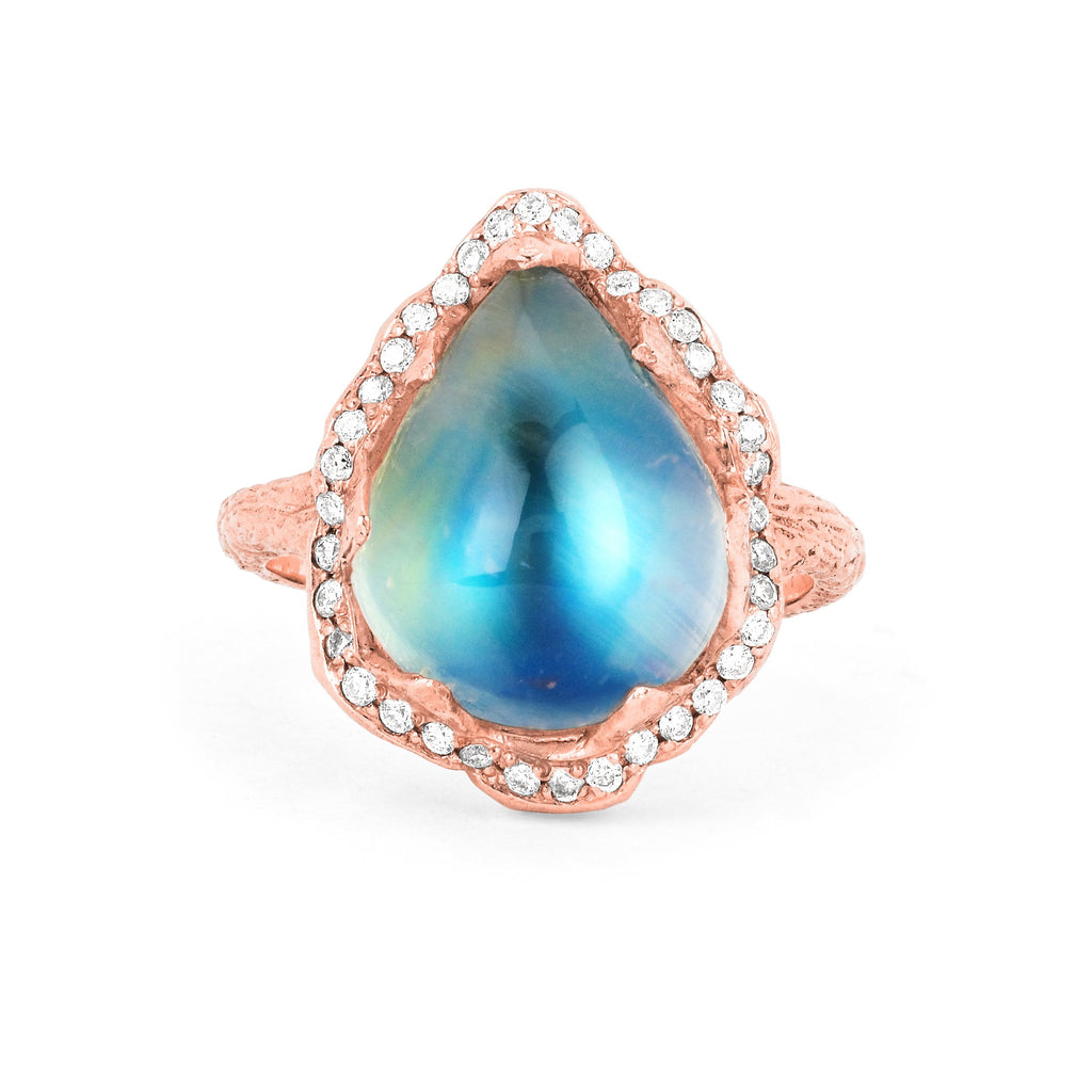 18k Queen Water Drop Blue Sheen Moonstone Ring with Full Pavé Halo Rose Gold