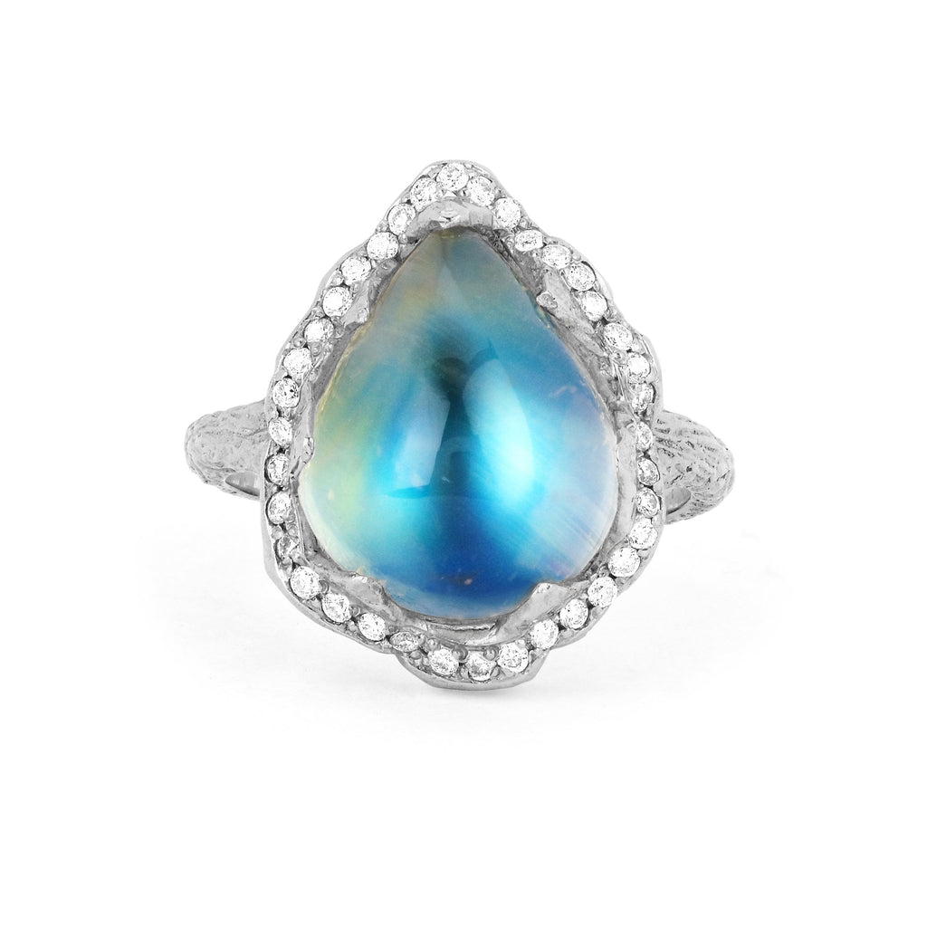 18k Queen Water Drop Blue Sheen Moonstone Ring with Full Pavé Halo White Gold