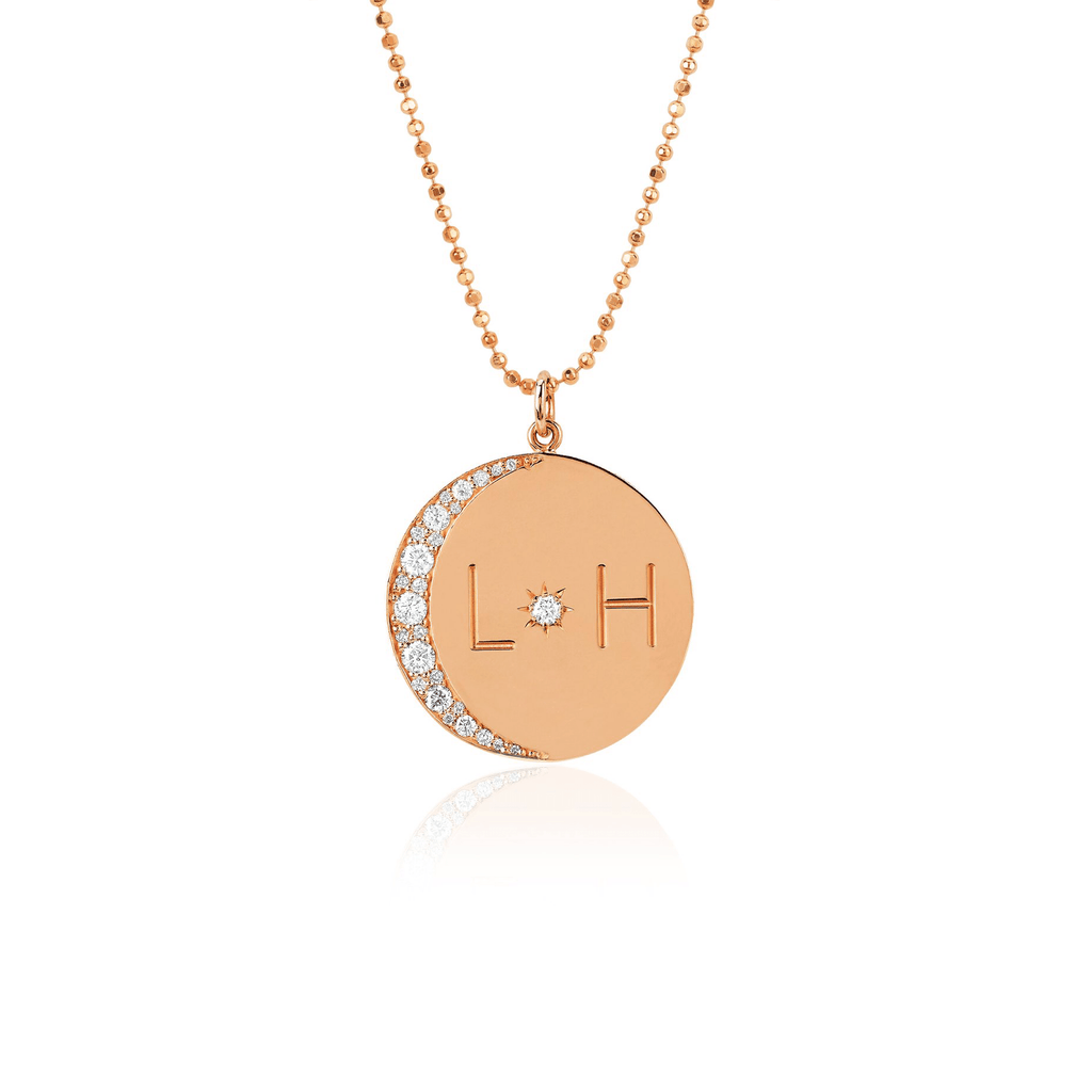 Medium Love You To The Moon and Back Necklace with Diamonds on Ball Chain Rose Gold