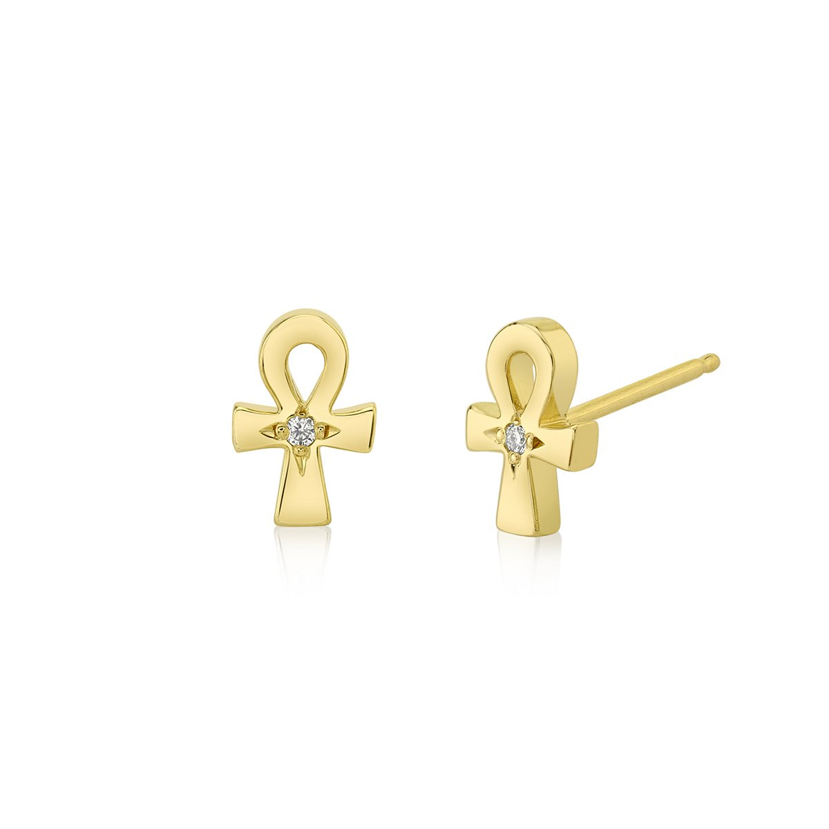NEW! Mini Diamond Ankh Studs