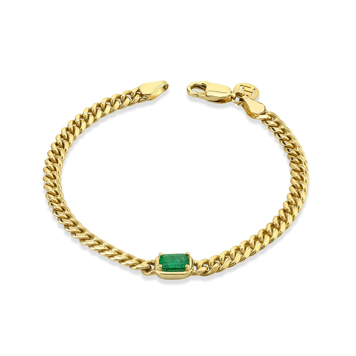 NEW! Queen Emerald Cut Emerald Cuban Bracelet