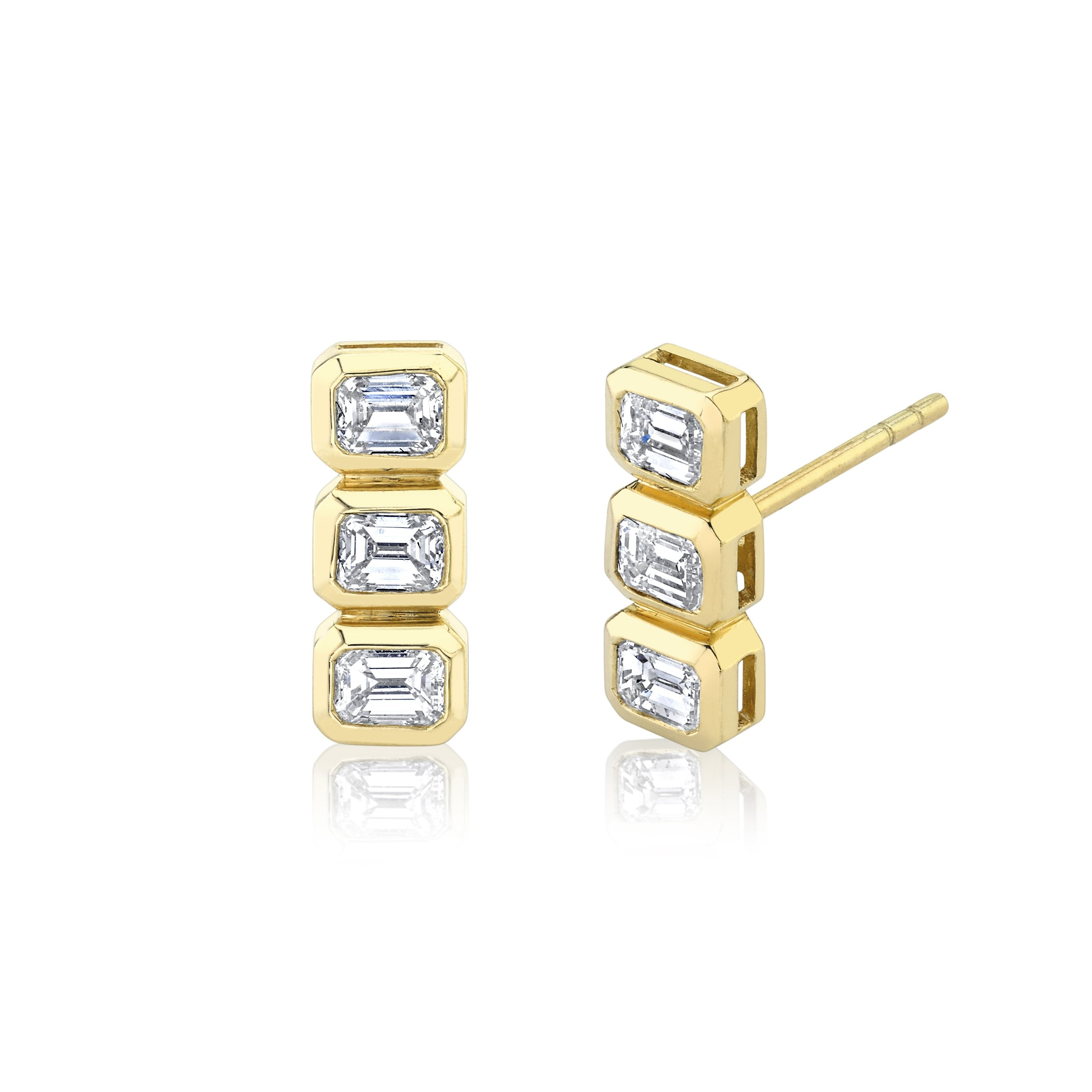 NEW! Three Emerald Cut Diamond Studs