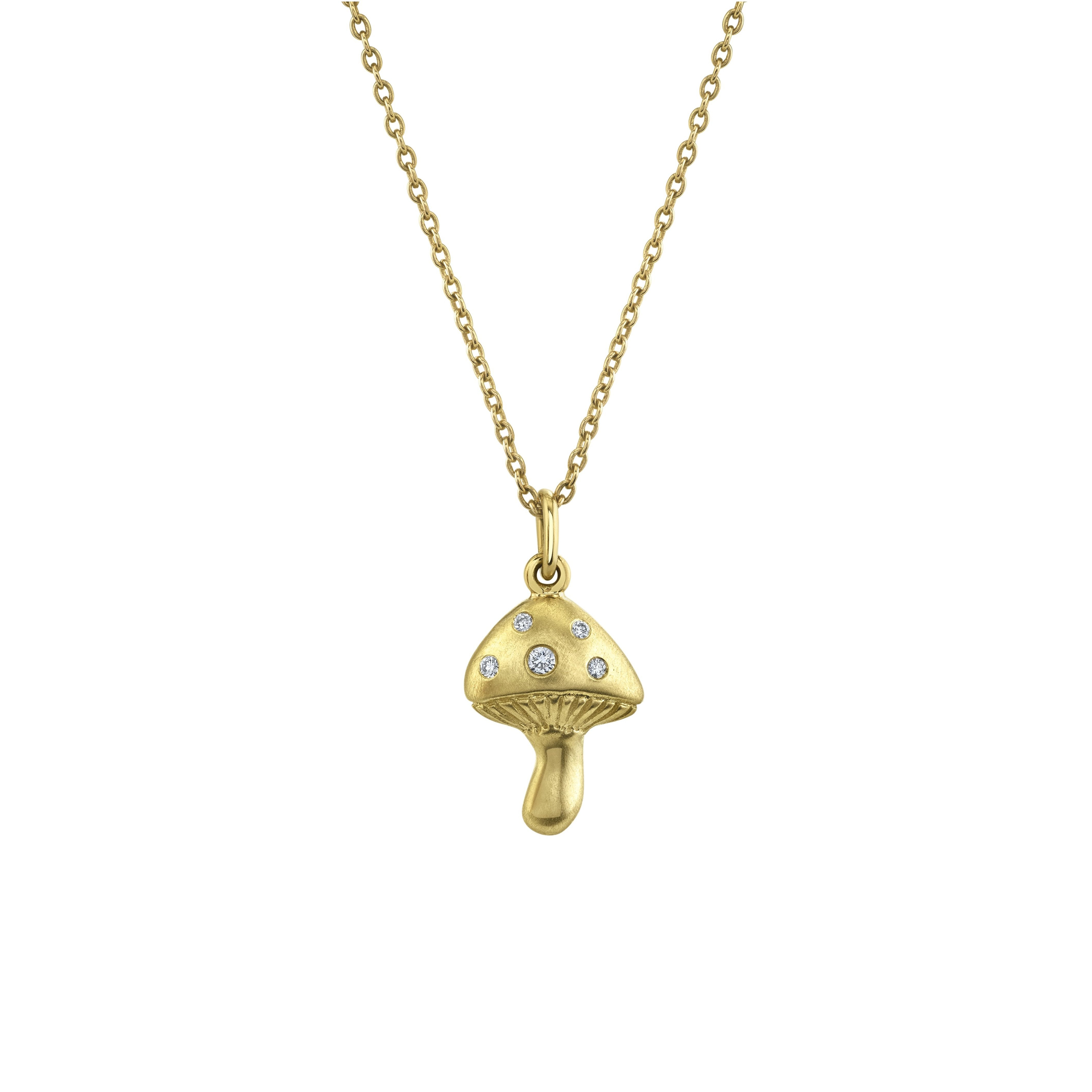 NEW! Mini Magic Mushroom Necklace with Diamonds