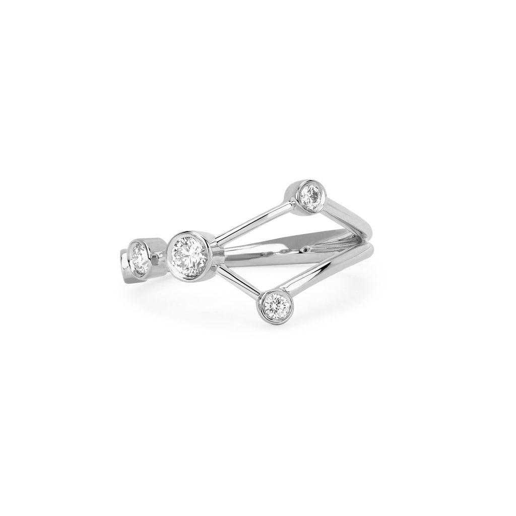Cancer Constellation Ring White Gold