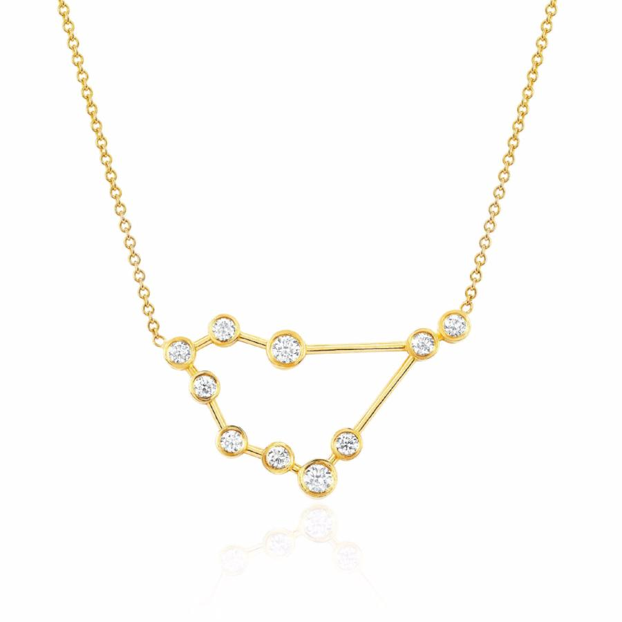 Capricorn Constellation Necklace Yellow Gold