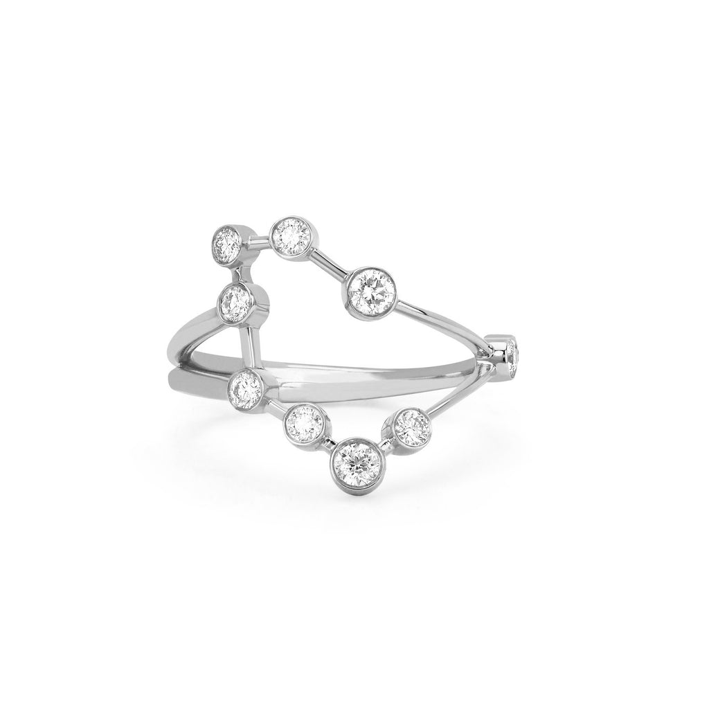 Capricorn Constellation Ring White Gold