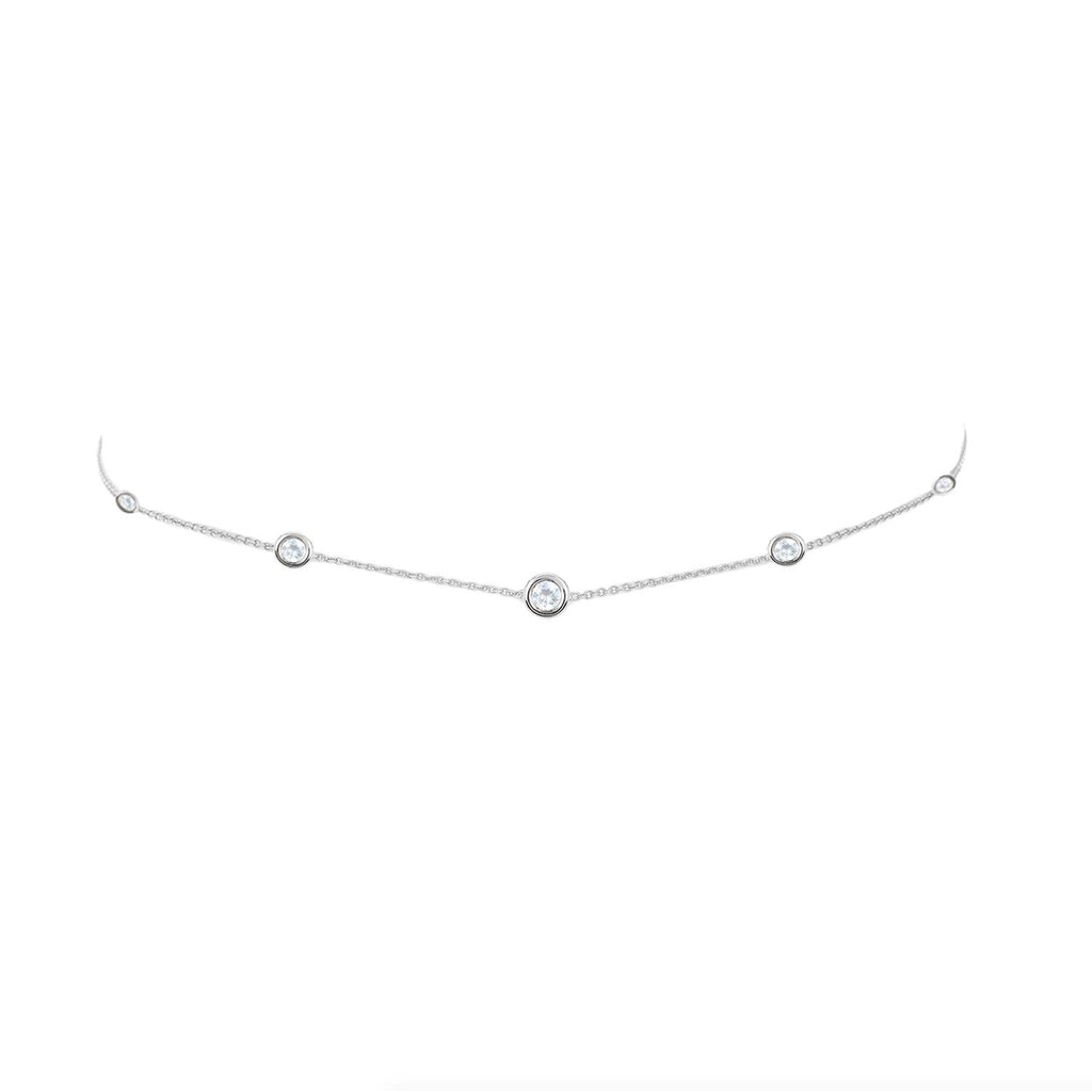 5 Moonstone Orbit Bezel Choker White Gold