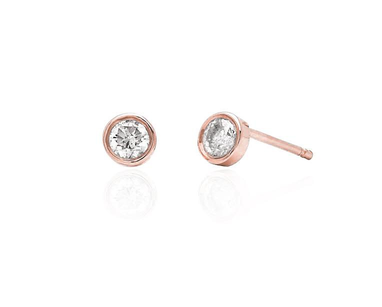 Constellation Diamond Bezel Studs Rose Gold