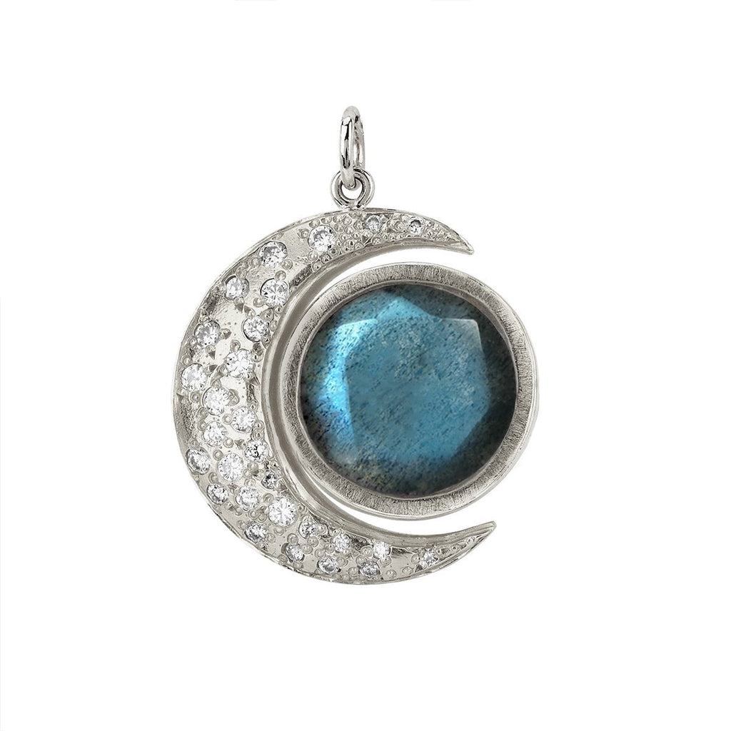 Queen Labradorite Crescent Charm with Sprinkled Diamonds Queen Labradorite Crescent Charm with Sprinkled Diamonds