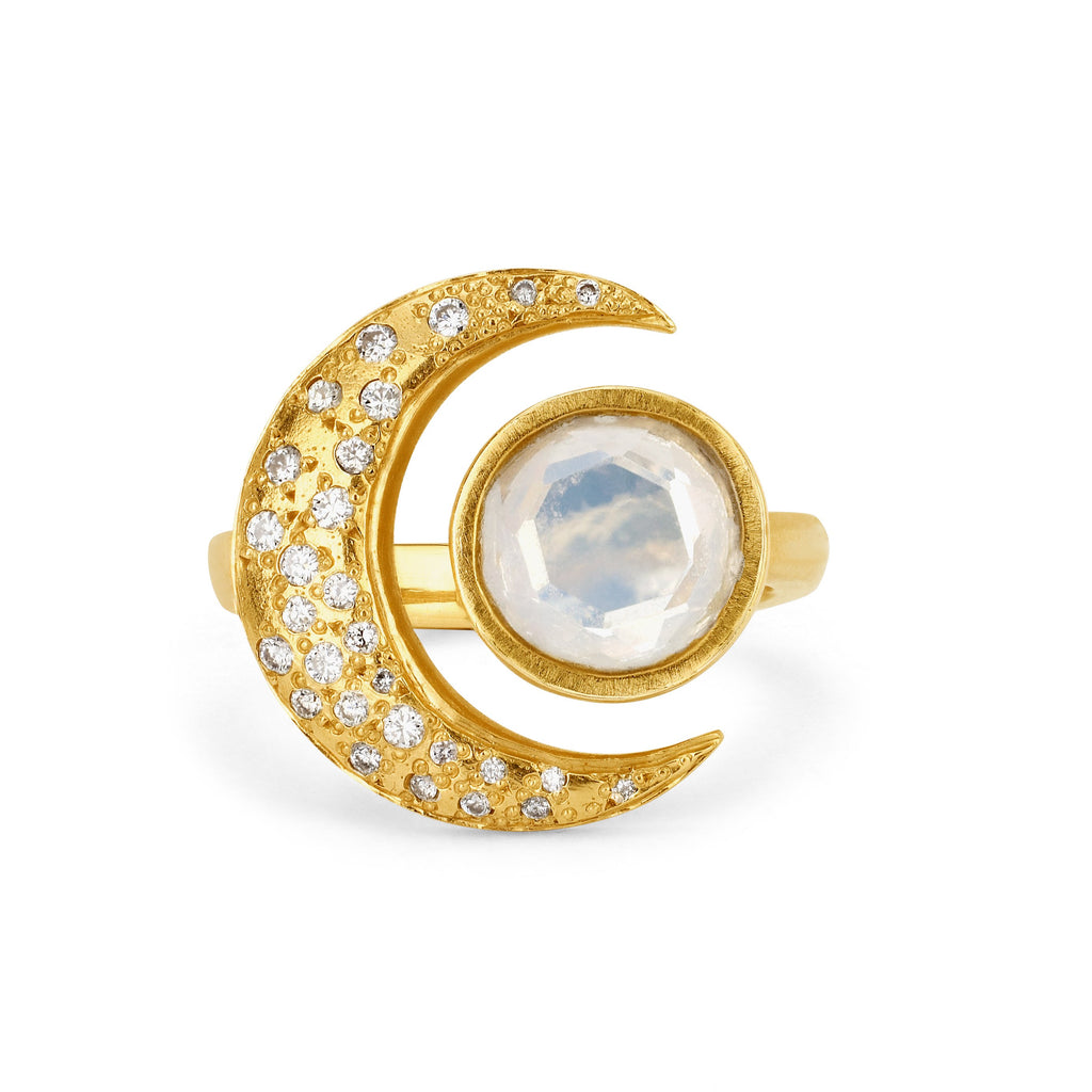 Queen Moonstone Crescent Ring with Sprinkled Diamonds Yellow Gold