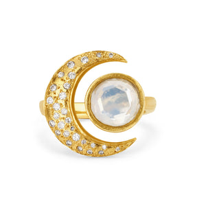 One of a Kind Moonstone Crescent Ring with Diamonds