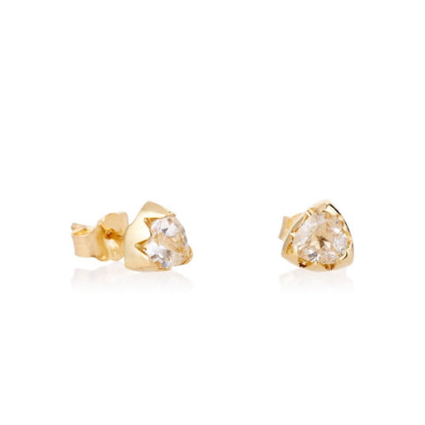 White Topaz Trillion Studs