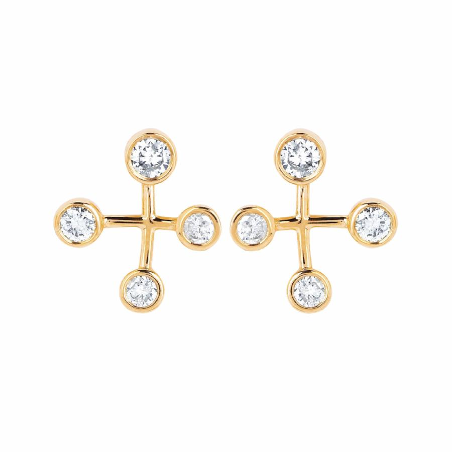 Crux Diamond Constellation Earrings Yellow Gold