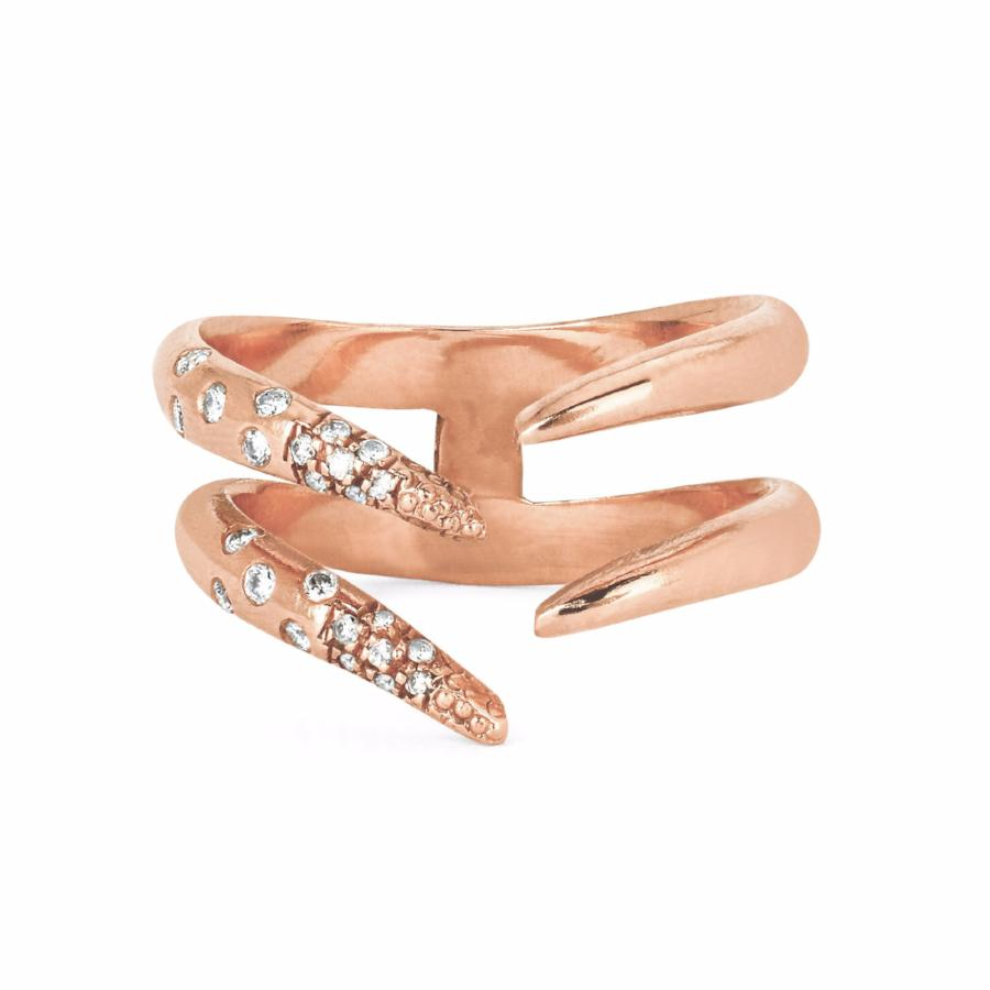 Diamond Baby Tusk Ring Rose Gold