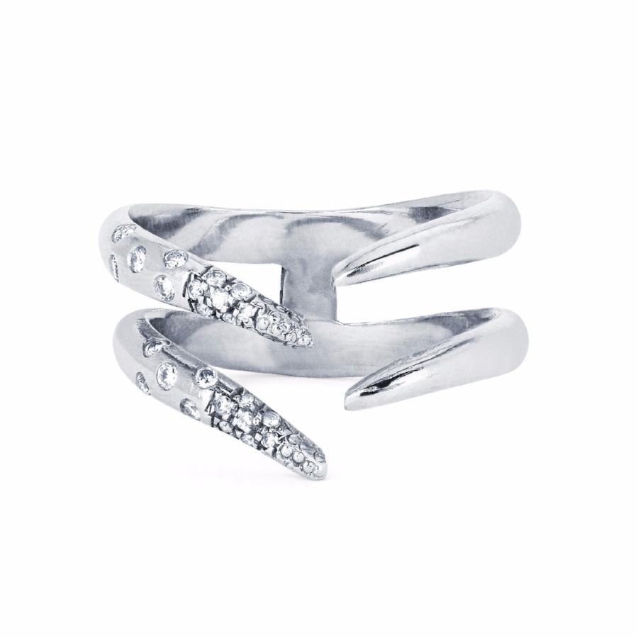 Diamond Baby Tusk Ring White Gold
