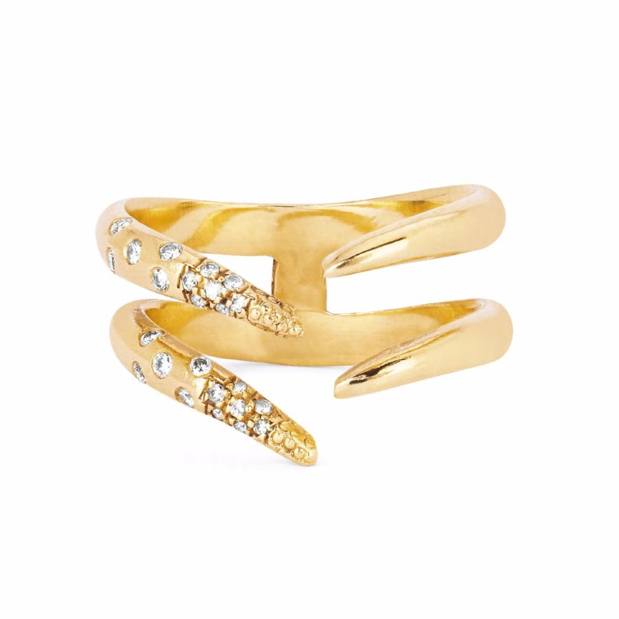 Diamond Baby Tusk Ring Yellow Gold