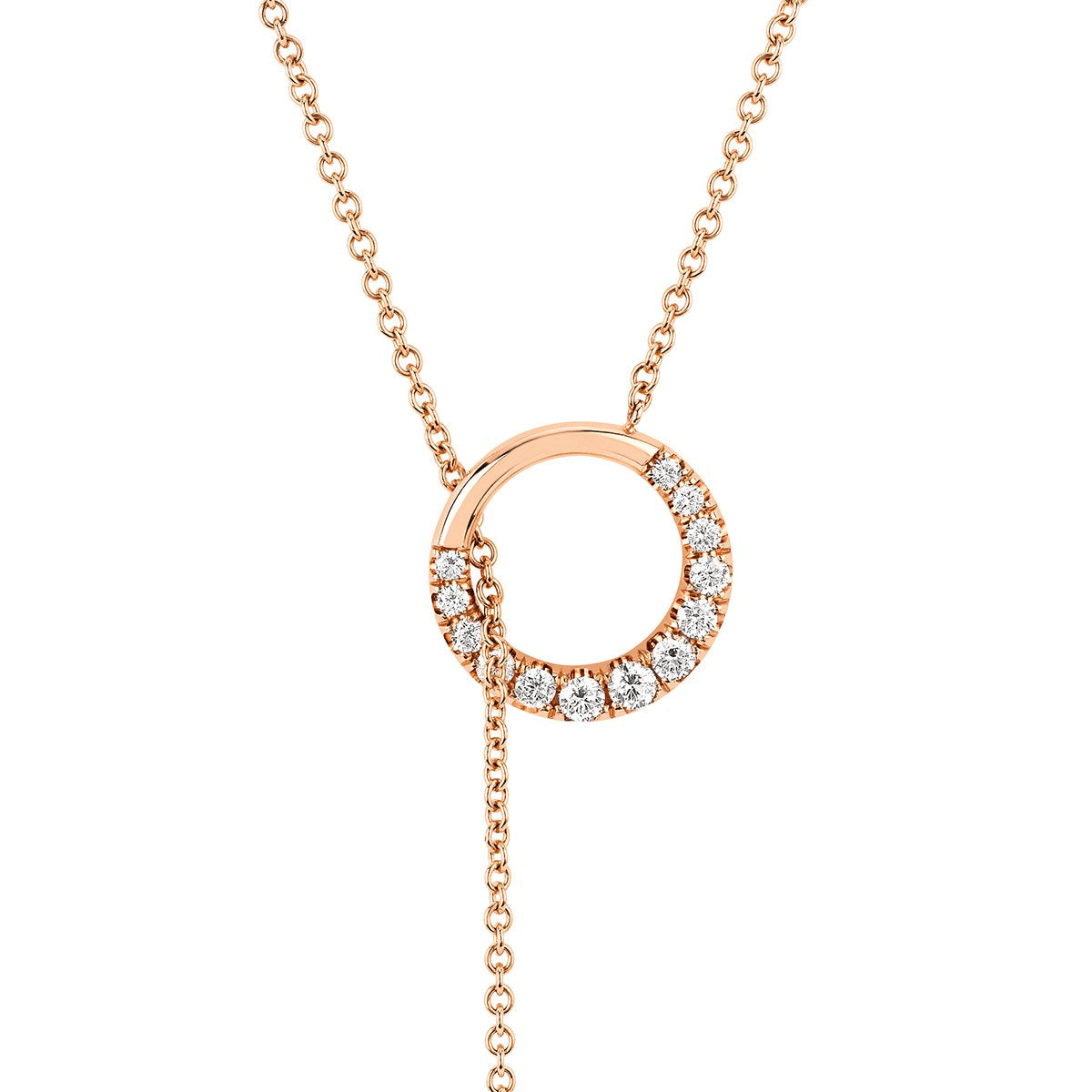 Pavé Diamond Moon Unity Lariat