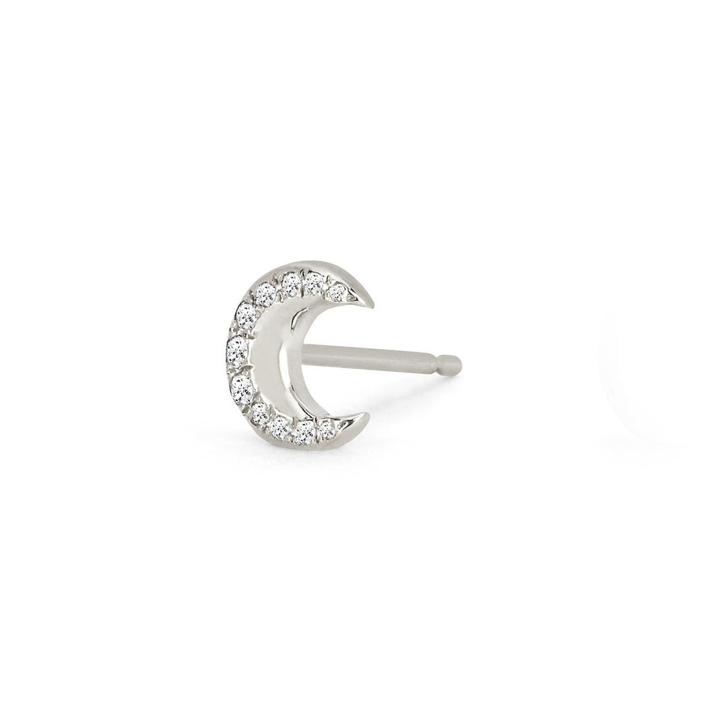 NEW! Crescent Gold Studs with Diamonds NEW! Crescent Gold Studs with Diamonds