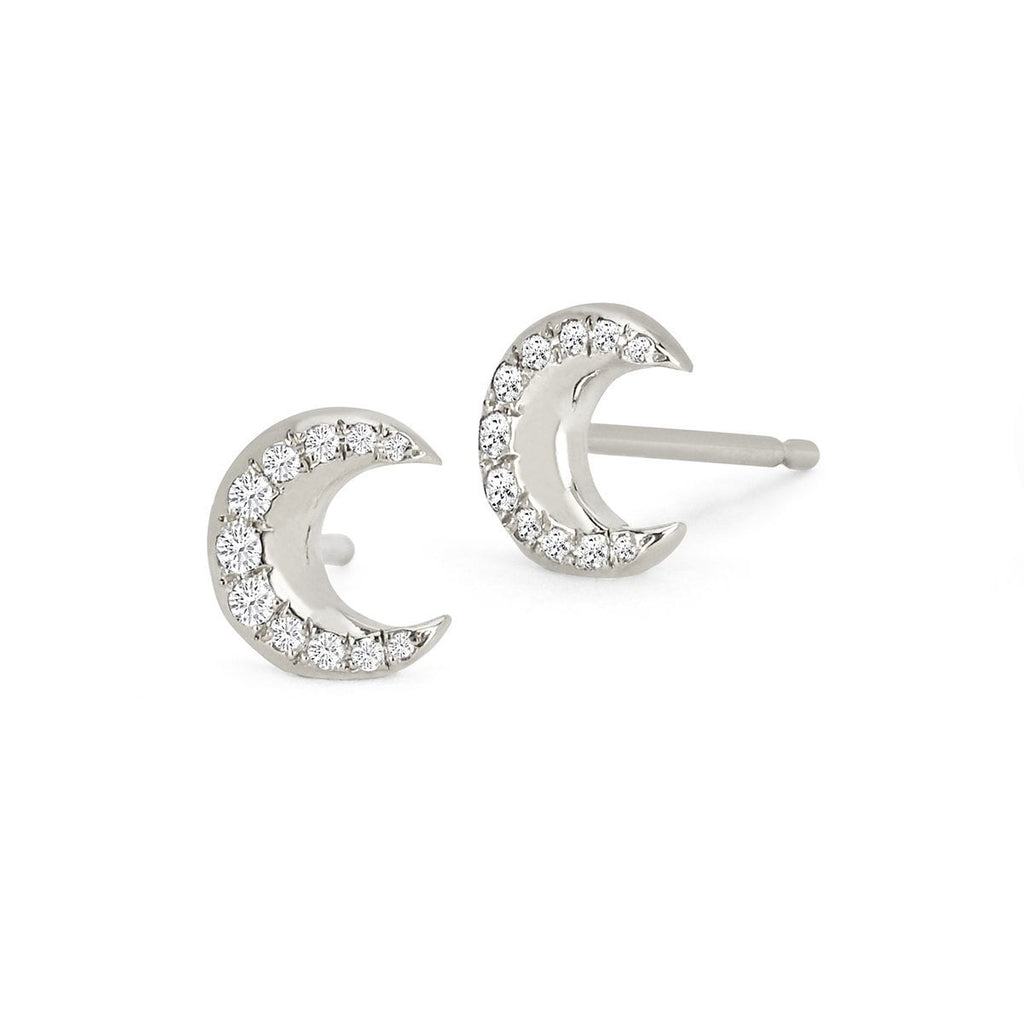 Crescent Gold Studs with Diamonds Crescent Gold Studs with Diamonds