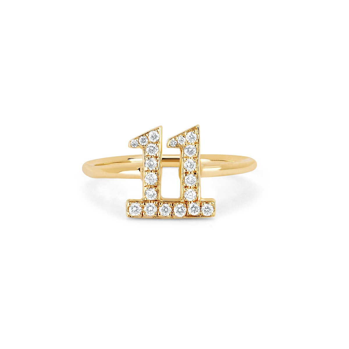 11 Numerology Ring with Pavé Diamonds