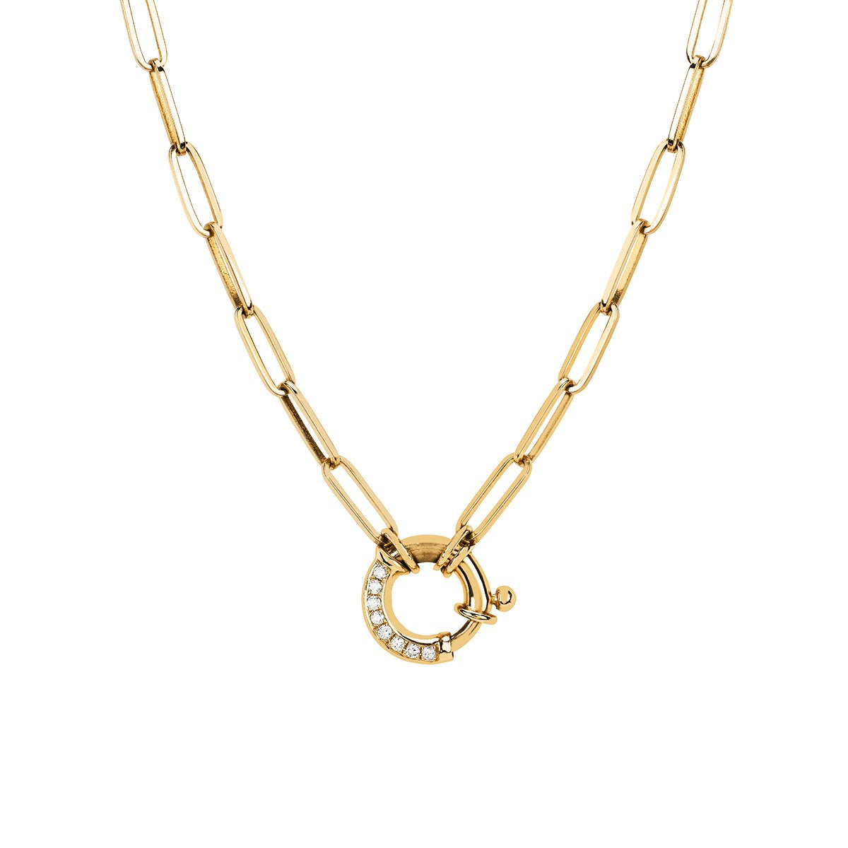 Alchemy Link Charm Necklace with Pavé Diamond Hoop Closure