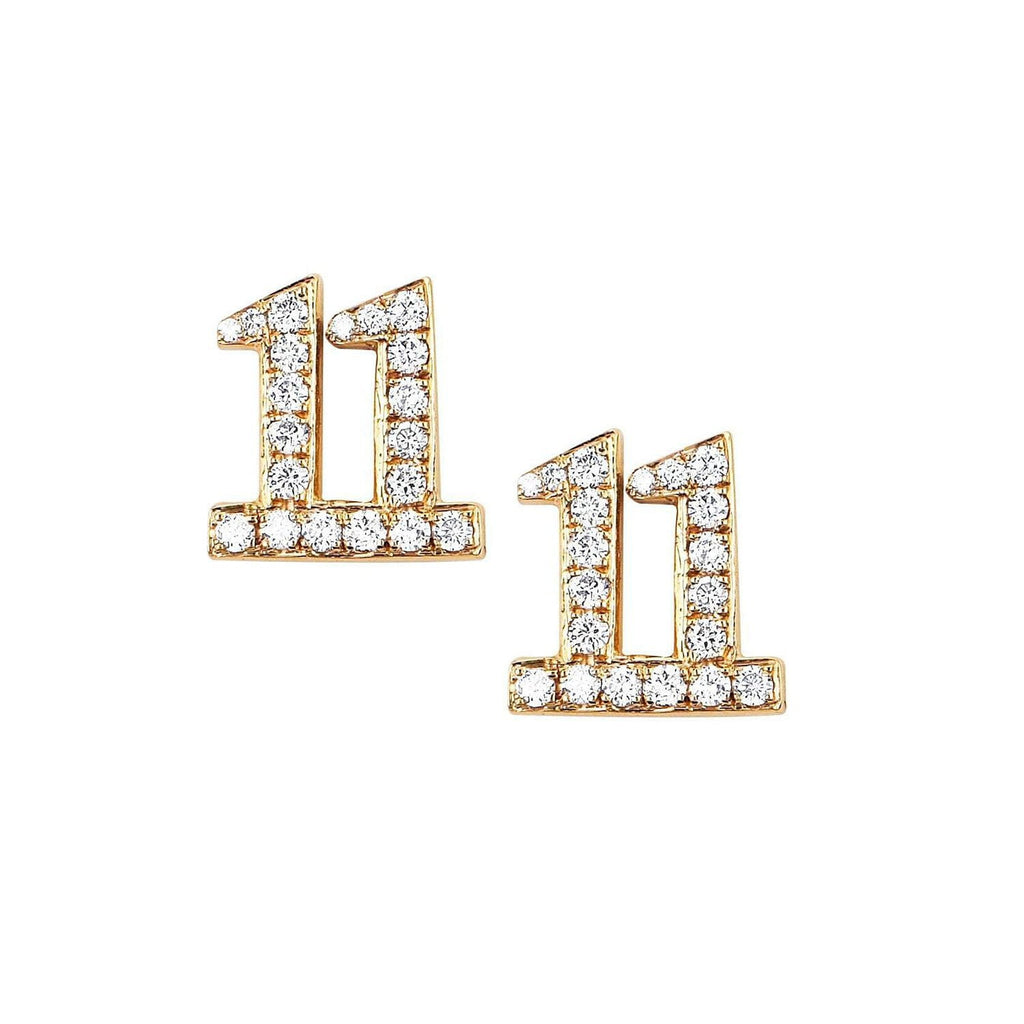 11 Numerology Studs with Pavé Diamonds 11 Numerology Studs with Pavé Diamonds