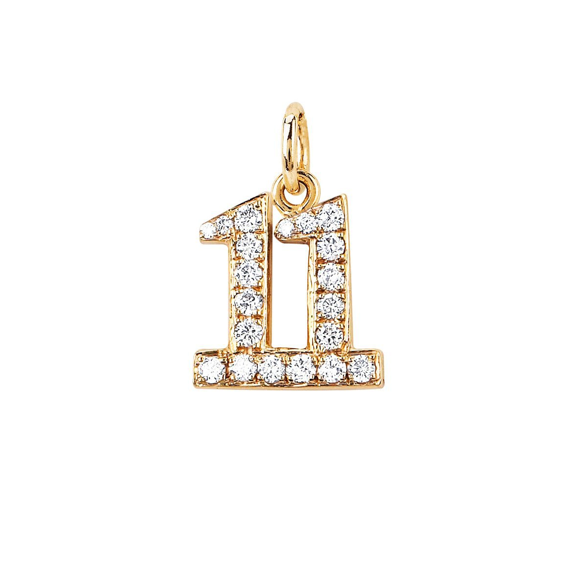Numerology Charm with Pavé Diamonds