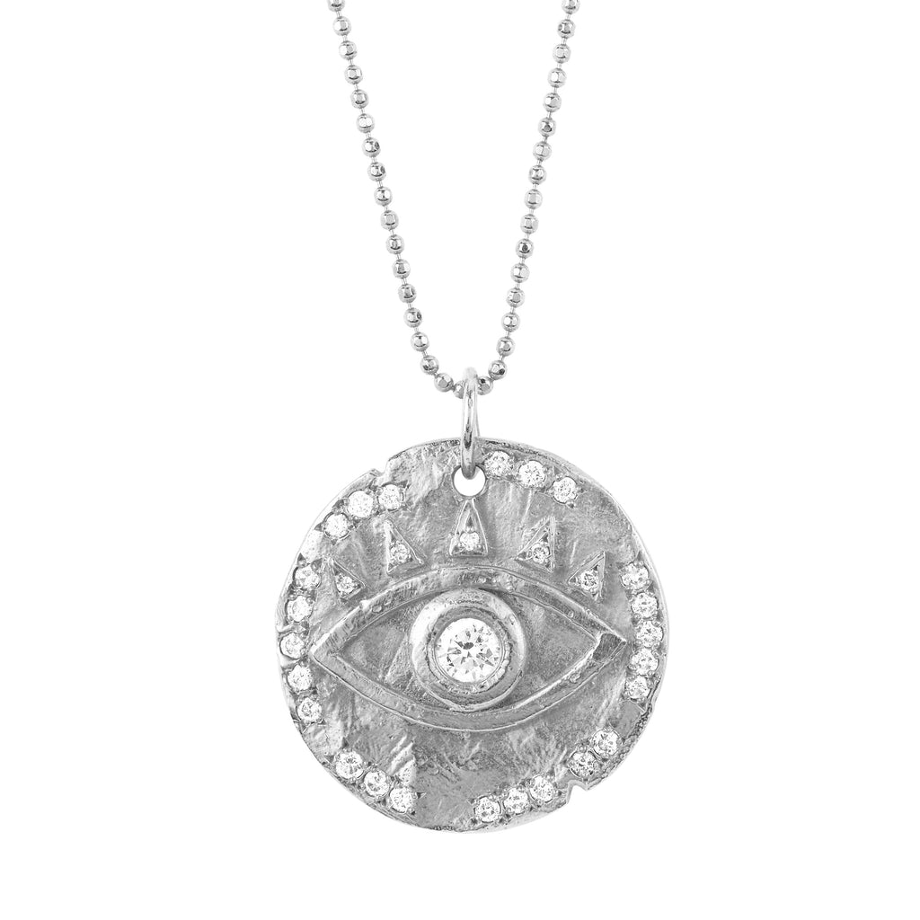 18k Diamond Eye of Protection Coin Pendant White Gold