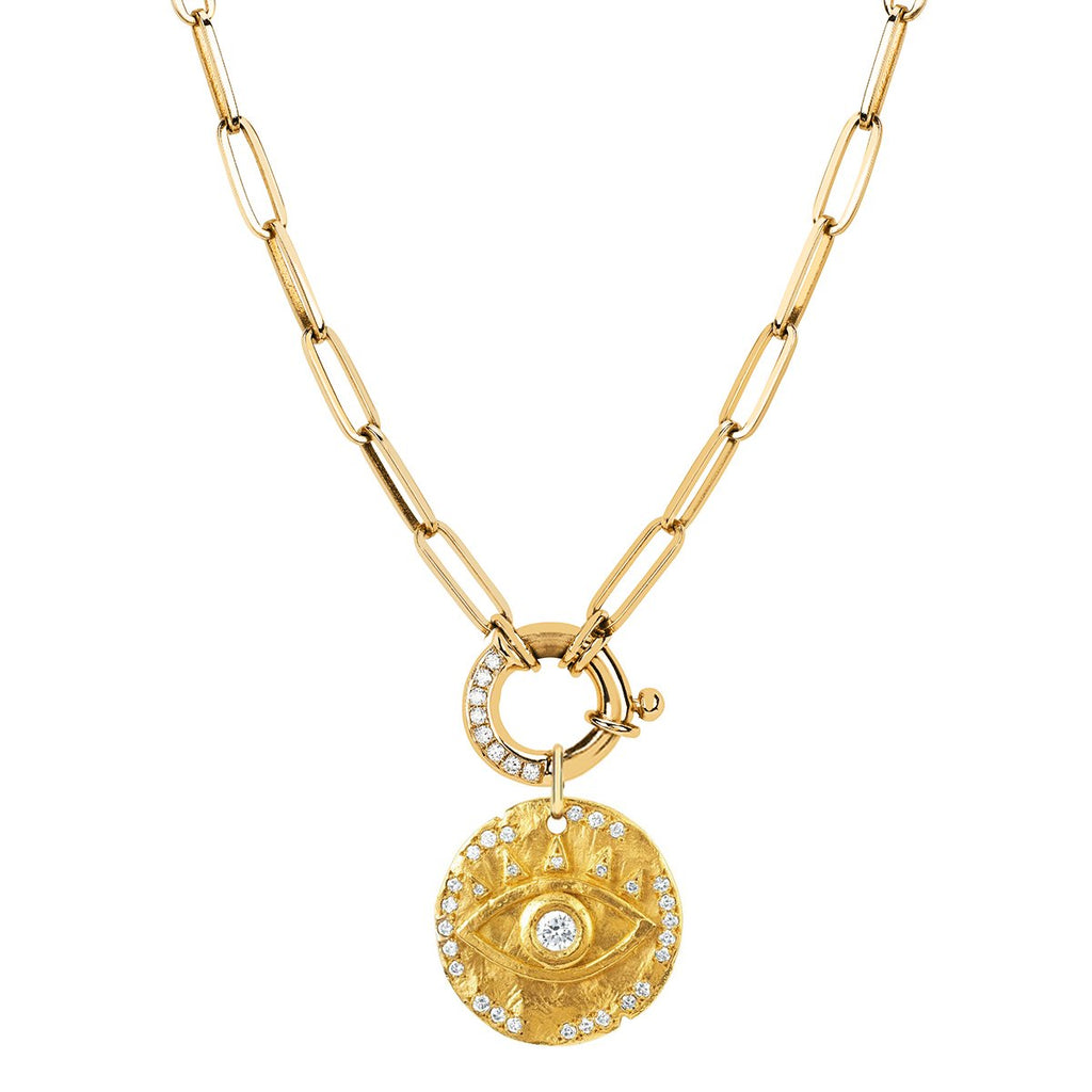 Alchemy Link Charm Necklace with Pavé Diamonds and 18k Diamond Eye of Protection Coin Charm Alchemy Link Charm Necklace with Pavé Diamonds and 18k Diamond Eye of Protection Coin Charm