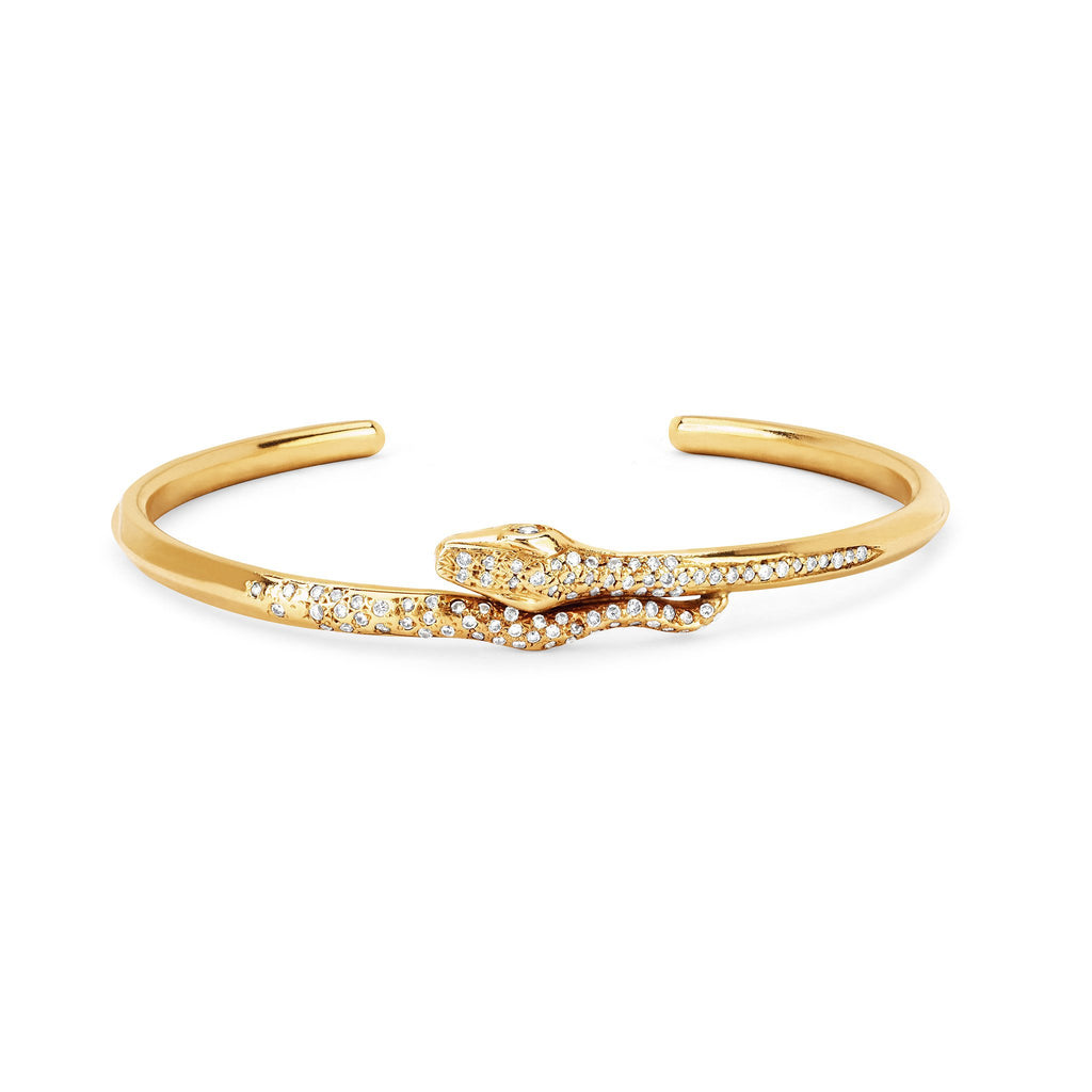 Kundalini Snake Cuff with Pavé Diamonds Yellow Gold