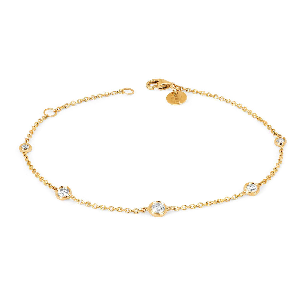 5 Diamond Orbit Bezel Anklet Yellow Gold