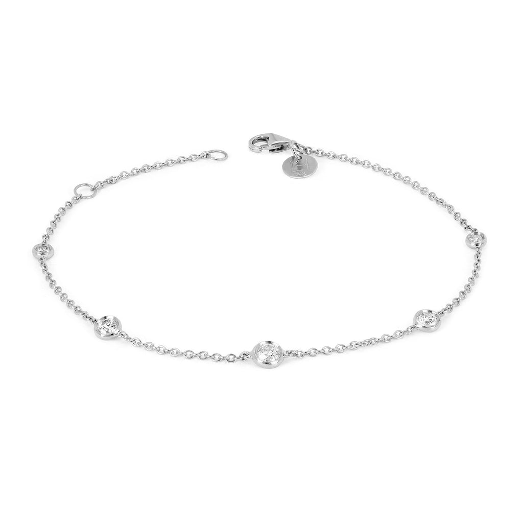 5 Diamond Orbit Bezel Anklet White Gold