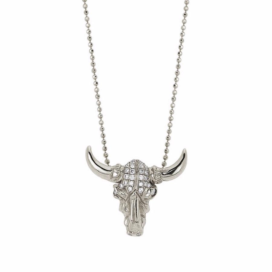 Bull Skull Necklace with Diamonds White Gold