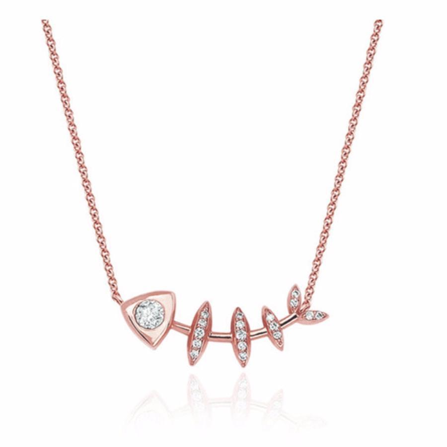Diamond Fishbone Totem Necklace Rose Gold