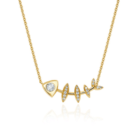 Diamond Fishbone Totem Necklace Yellow Gold