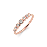 7 Diamond Orbit Bezel Ring Rose Gold
