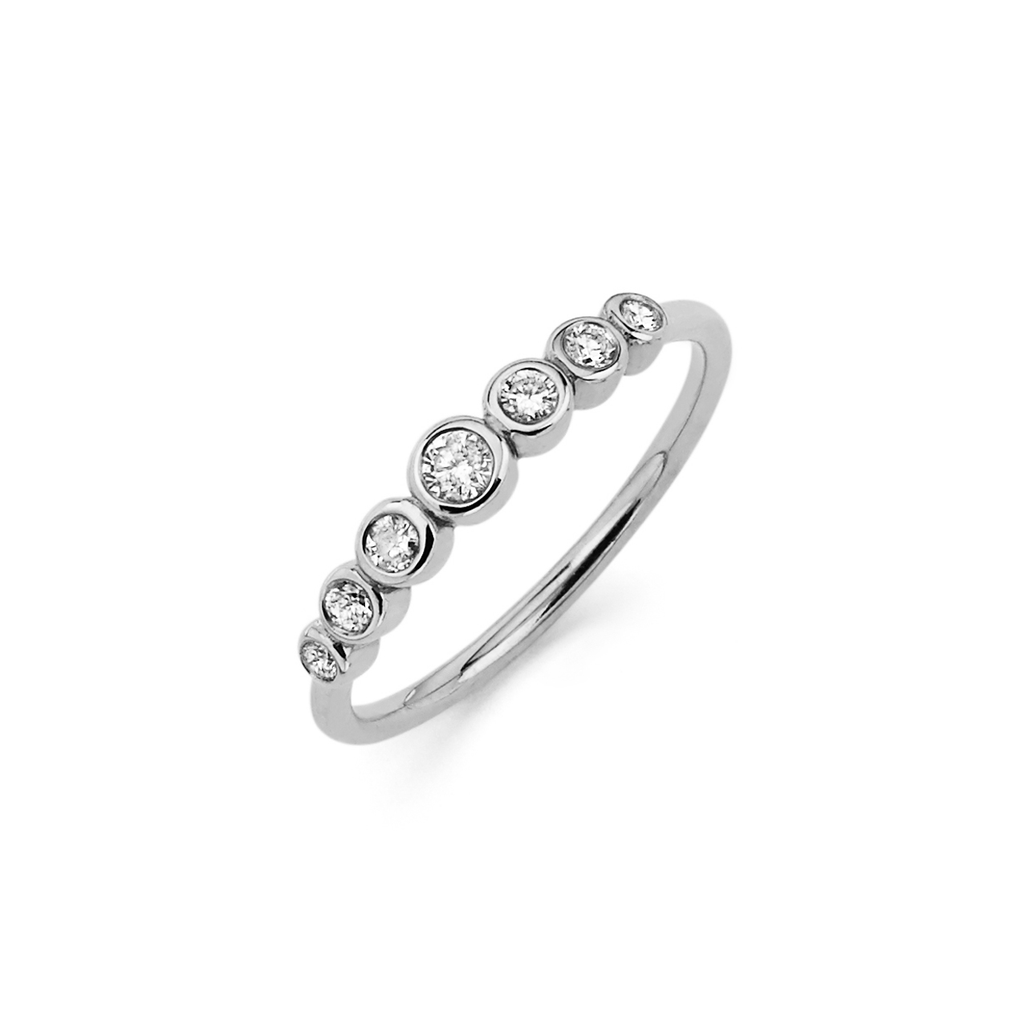 7 Diamond Orbit Bezel Ring White Gold