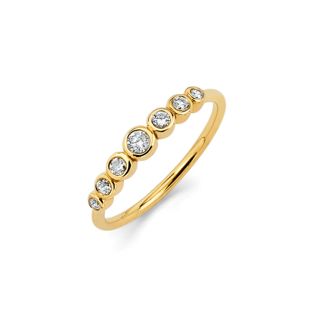 7 Diamond Orbit Bezel Ring Yellow Gold