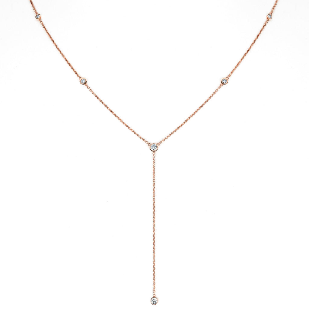 Diamond Star Droplet Necklace Rose Gold