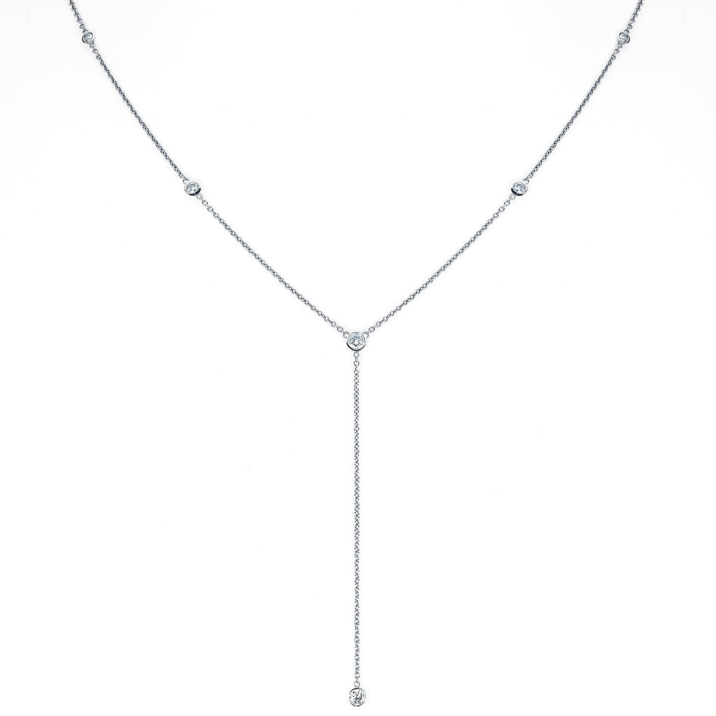 Diamond Star Droplet Necklace White Gold