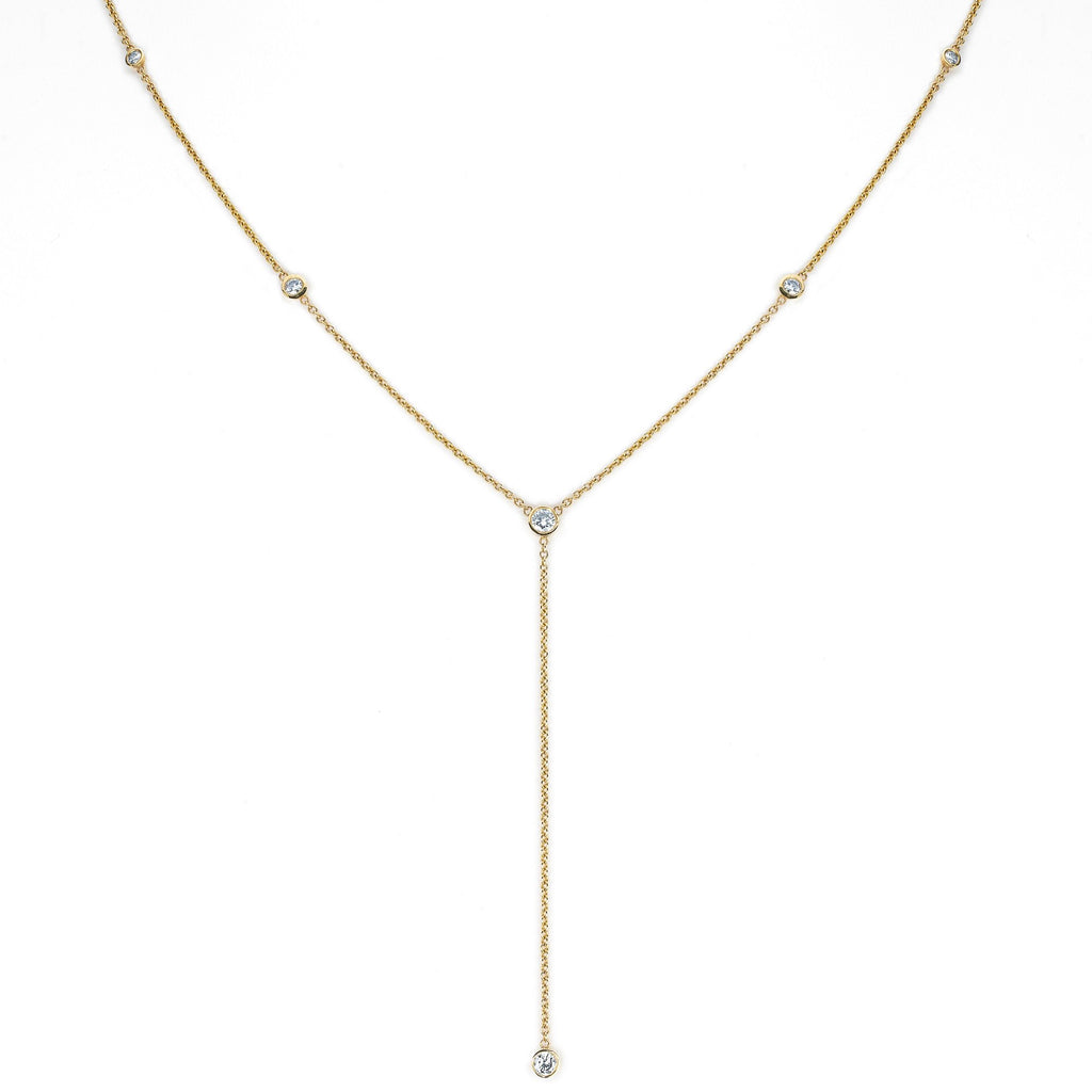 Diamond Star Droplet Necklace Yellow Gold