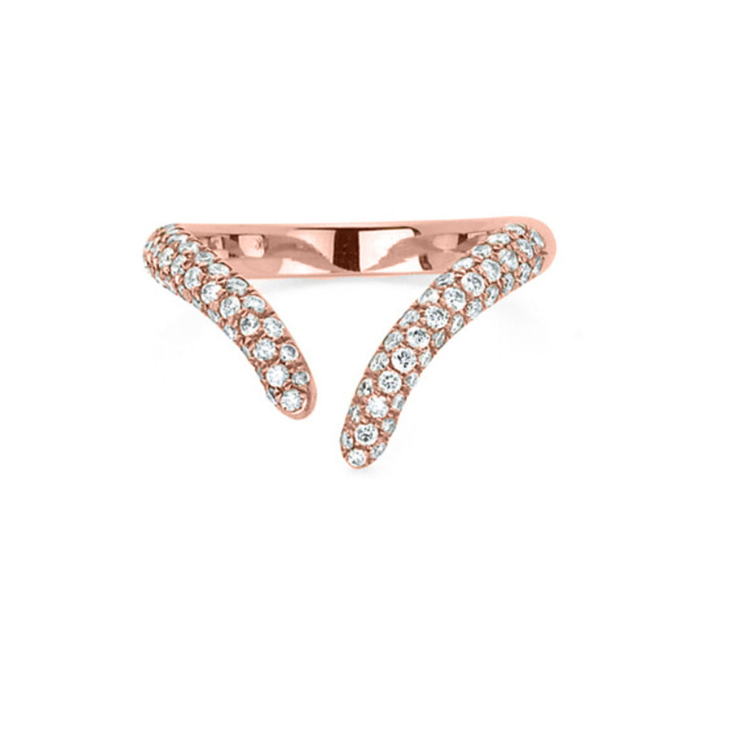 Pavé Diamond Tusk Wrap Ring Rose Gold