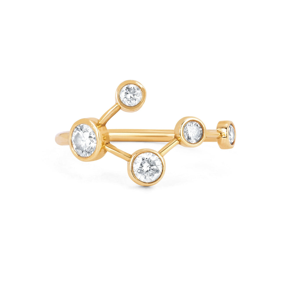 Big Dipper Diamond Constellation Ring Yellow Gold